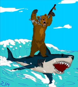 bear-riding-shark