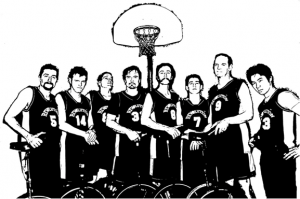 berkeley unicycle basketball Team-posterized